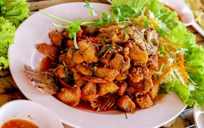 Thai foods fired fish with fishsauce
